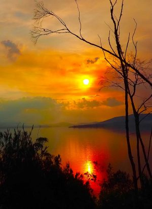ABELS Bay sunset over the Huon