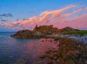 Moon at sunset - Tarkine coast. Tasmania