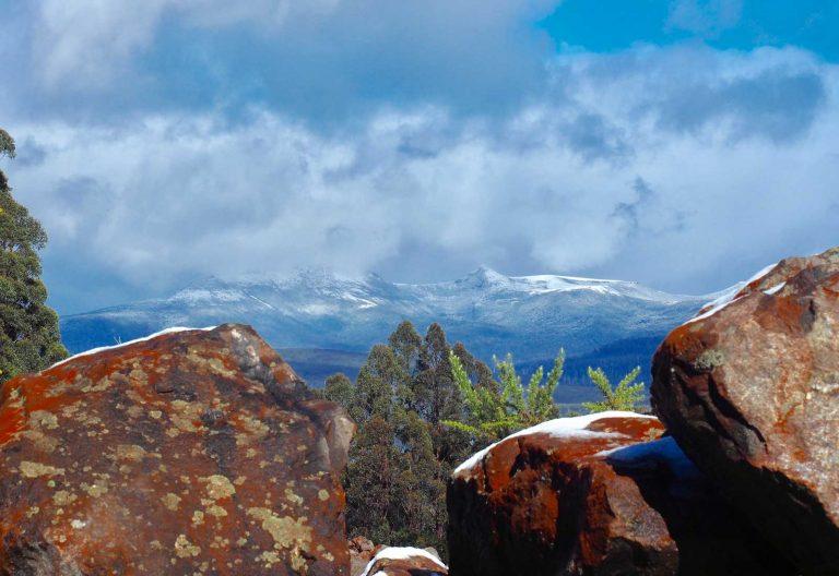 Sunshine after snow - Adamsons Peak obscured